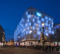 Starwood Hotel W London in Leicester Square - London, England; 10-story building with retail, leisure, and Gessi Bathrooms; designed by Jestico + Whiles