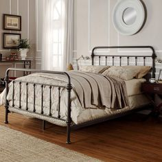 Bed frame Shady Grove Iron Bed in Antiqued Natural by Magnussen Home Iron Headboard, Queen Headboard, Headboard And Footboard, Full Headboard, Metal Headboards, Panel Headboard, Antique Headboard, Panel Bed, Home Bedroom