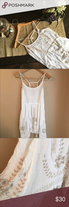 Free People Free People Cream Colored with Brown Detail Size Medium Dress or Tunic Free People Dresses Mini