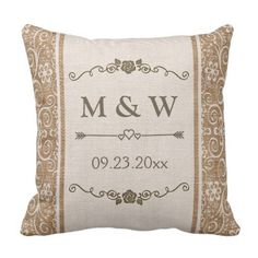 Rustic Burlap Lace Wedding ceremony Monogram Throw Pillow. *** Look into even more by going to the photo link