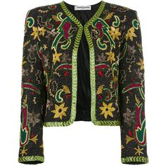 Sonia Rykiel Vintage sequin embellished jacket ($864) ❤ liked on Polyvore featuring outerwear, jackets, multicolor, collarless jacket, vintage jackets, sequin crop jacket, colorful jackets and sonia rykiel