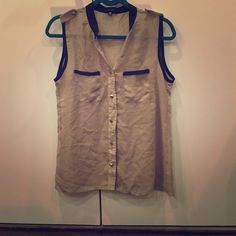 Sheer tank top Taupe with black trim sheer tank top and stud bottons Tops Tank Tops