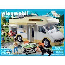 Playmobil Family Camper 5928 by Playmobil. $54.81. Removable Roof / Cargo Box and Plenty of Room for Storage. Ages 4+. Includes: (2) Figures / Dog / Bicycle / Folding Table and Chairs. Playmobil Family Camper 5928. 63 Piece Playset. Take the Playmobil couple and their dog on a road trip with the Camper. The Camper includes two bunks beds, kitchen, bathroom, and dining area. Set also includes two figures, dog, bicycle, folding table and chairs, and many other acces...
