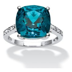 PalmBeach Jewelry Denim Crystal Ring MADE SWAROVSKI ELEMENTS (105 CAD) ❤ liked on Polyvore featuring jewelry, rings, denim, jewelry & watches, blue jewelry, crystal stone rings, cushion cut ring, crystal rings and anchor jewelry