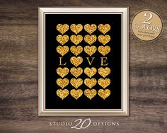 Instant Download, Gold Glitter Heart Art, Valentines Day Wedding Love 8x10 Wall Decor Bling, Baby Girl Boy Nursery Printable Poster #34C on Etsy, $1.75