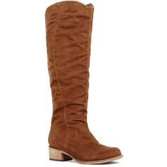 Justfab Flat Boots Meredy ($25) ❤ liked on Polyvore featuring shoes, boots, apparel & accessories, brown, low heels 1-2.25, tall stretch boots, platform boots, brown boots, brown slouch boots and tall boots
