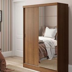 Guarda-Roupa Solteiro Luke com Espelho 2PT 1GV Rústico Wooden Almirah, Wardrobe Design Bedroom, Handbag Storage, Mirrored Wardrobe, Room Closet, Decoration, Home Office, Armoire, Room Decor