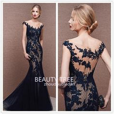 2016 Sexy Zuhair Murad V Neck Lace Formal Black Evening Dresses Cap Sleeves  See-through d92a6d4ed