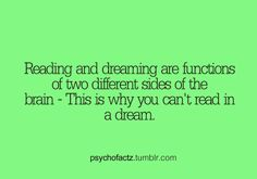 OMG thank God because I always dreamt that I forgot how to read. It was scary because I love to read.