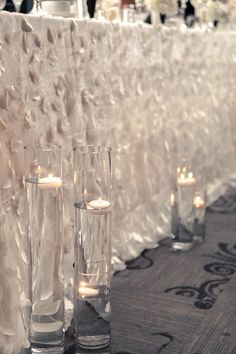 Row of lights in front of table Wedding Designs, Wedding Styles, Marrying My Best Friend, Floating Candles, Gray Weddings, Ao Dai, Wedding Planning, Party Planning, Marry Me