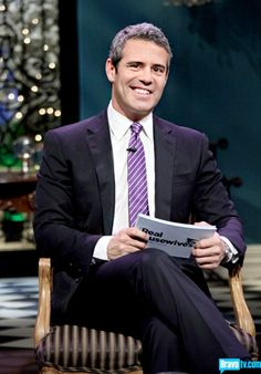 Andy Cohen of Bravo TV in purple suit and tie!