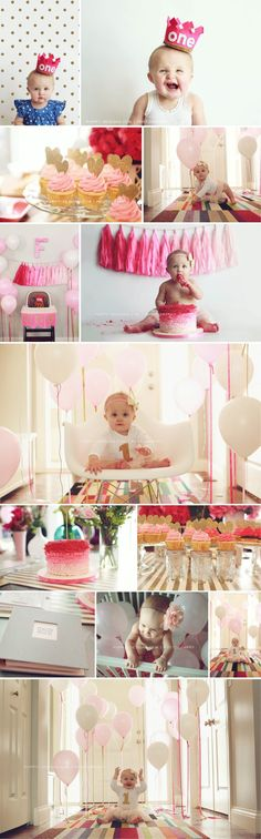 Balloons matching clothing, baby in chair. Also nice is streamers matching the cake.