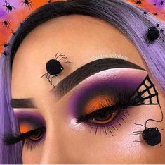 Still looking for the perfect makeup to wear this Halloween? If so, the search may be over because today we have 21 Halloween eye makeup ideas to show you! Edgy Makeup, Makeup Eye Looks, Eye Makeup Steps, Eye Makeup Art, Creepy Makeup, Horror Makeup, Zombie Makeup, Orange Eye Makeup, Colorful Eye Makeup