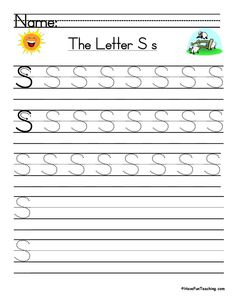 UsingLetter S Handwriting Practice Worksheet, students trace and then write the letter S in order build their Zaner-Bloser style print handwriting skills. Letter S Worksheets, Letter S Activities, Handwriting Practice Worksheets, Kindergarten Worksheets, Print Handwriting, Teaching Handwriting, Preschool Writing, Free Preschool, Kindergarten Literacy