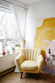 This yellow ray of sunshine in my favourite corner. Chair is from Furniture Maison.