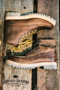 100% leather construction, hand sewn uppers, leather laces in 2 colors, Goodyear welt, and a rubber lug sole designed to handle any and all overloads. In other words, a completely dependable men's outdoor leather boot.