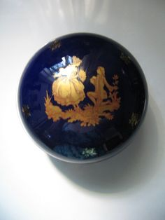 LIMOGES COBALT BLUE Powder Jar Vintage by pandorasboxantiques on Etsy, $39.00