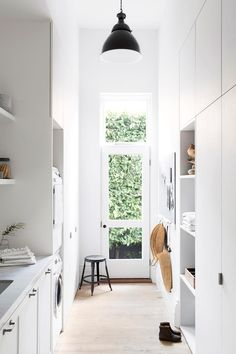 All white laundry Home, Laundry Doors, Laundry Room Design, Home And Living, Interior, House, White Laundry Rooms, House Interior, Room
