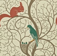 Sanderson Squirrel and Dove (Teal/Red) wallpaper from Vintage collection, priced per roll. Squirrel & Dove wallpaper is faithfully reproduced from the original designed by C Wallpaper Direct, Wallpaper Samples, Print Wallpaper, Wallpaper Designs, Wallpaper Ideas, Wallpaper Teal And Red, Textiles, Designers Guild, Graphic Design