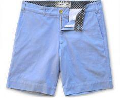 Light Blue Twill Men's Short - Contrasting waistband