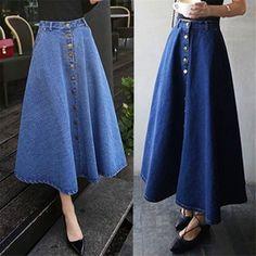 High Waist Denim A-Line Umbrella Maxi Skirt