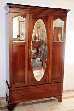 Locking Armoire Antique Tri Beveled Oval Mirror Inlays Wardrobe Gentlemans  Closet With Bottom Drawer Insured Nation