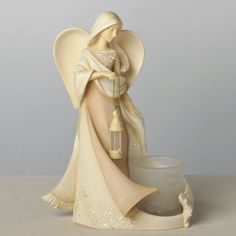 Angel With Lamp & Votive Holder Foundations Angels Figurine - 4036739 - NIB!