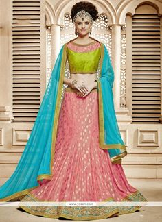 We have available various types of lehenga choli for all occasion. Shop now! This dainty pink lehenga choli. Lehanga Saree, Pink Lehenga, Net Lehenga, Lehenga Choli Online, Lehenga Blouse, Ghagra Choli, Party Wear Lehenga, Party Wear Dresses, Indian Dresses