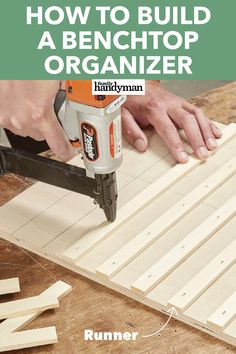 Build the benchtop organizer in one hour. Combine plastic bins with a simple plywood cabinet to super-organize small stuff. Woodworking Furniture, Woodworking Shop, Woodworking Plans, Woodworking Projects, Woodworking Jigsaw, Woodworking Templates, Woodworking Apron, Woodworking Basics, Woodworking Supplies