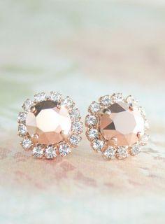 Rose gold earringSwarovski rose gold crystal