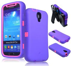 ZeroLemon Samsung Galaxy S4 ZeroShock Rugged Cute Pink / Majestic Purple Case + Holster/KickStand + Screen Protector for Original Slim &  7500mAh Extended Battery Case ***Battery NOT Included*** (Compatible with AT&T I337, Verizon I545, Sprint L720, T-Mobile M919, International I9500 & I9505) S4-R-Pink/Purple