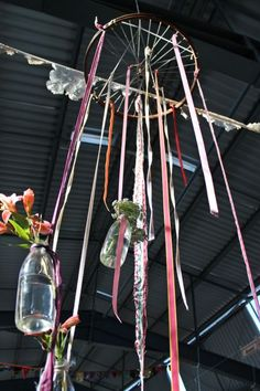 ribbons, vintage bottles and bike wheel