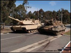 Australian Army Ex-MBT LEOPARD AS1 and its replacement, the ABRAMS M1A1