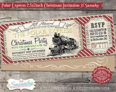 Polar Express Christmas Party Invitation - INSTANT DOWNLOAD - Editable & Printable Family Invitation by Sassaby