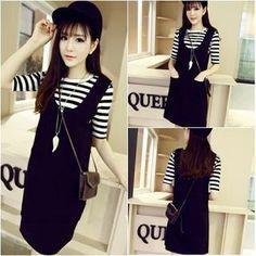 Set: Striped T-Shirt + Jumper Dress, Black , One Size - QZ Lady | YESSTYLE