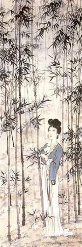 A Lady Amongst the Bamboo - Xu Beihong, Expressionism