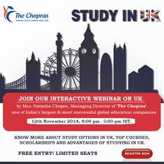 Free #Webinar on Study in UK Join here: https://attendee.gotowebinar.com/register/5981986831691557634  Your opportunity to understand, explore and ask questions about why UK is the Top destination for international students The UK Webinar will cover:  • Why Study in the UK • How to choose a University • Extending your visa after studies • Career Opportunities Limited Seats!