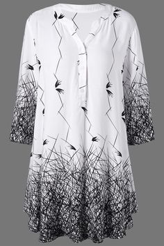 $15.76 Plus Size Graphic Longline Henley Blouse - White And Black