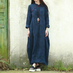 Vintage Women Dress 2016 Fall Dress Long Sleeve Chinese Cheongsam Ethnic Dress Deep Blue Qipao Jacquard Maxi Dress Robe Vestido *** Click image for more details.