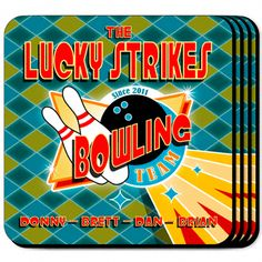"""Bowling Team Personalized Bar Coaster Set. The whole bowling league team will appreciate these sets of four richly detailed, waterproof coasters, which reflect his fave activity. Our personalized bowling team coasters are a perfect accessory to any bar or family room. Our Bowling Team Personalized Coaster Set's personalized design is printed in full color onto a non-skid cork base. Includes 4 coasters and mahogany caddy for storage. Each coaster measures 3.75"""" x 3.75""""."""