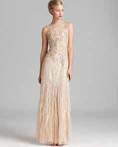 Basix Sleeveless Beaded Gown - Paillettes | Bloomingdale's