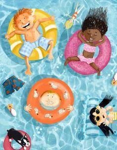 Pinzellades al món: Tots a la piscina! / Todos a la piscina! / All the pool! Kids Art Class, Art For Kids, Crafts For Kids, Art Drawings For Kids, Drawing For Kids, Arte Elemental, Children's Book Illustration, Summer Art, Beach Art