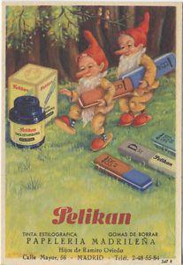 Papel secante con publicidad de Pelikan: tinta estilográfica y gomas de borrar. | eBay