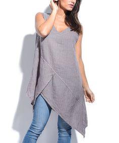 Look what I found on #zulily! Purple Linen Asymmetrical Tunic #zulilyfinds