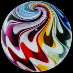 "Glass Marbles, Paperweights & More - Kris Parke 1 1/2"" Rainbow Lobe Marble"