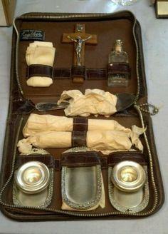 Vintage Antique Catholic Religious Last Rites Priest's / exorcism Kit Catholic Sacraments, Demonology, Vintage Medical, Roman Catholic, Priest, Supernatural, Steampunk, Victorian, Rosaries