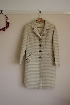 Vintage 1950s/60s pale green and cream striped autumn/spring coat | eBay