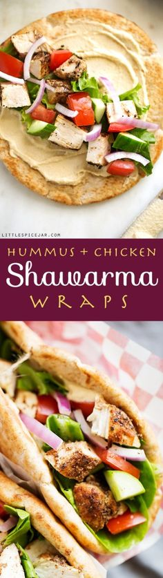 Hummus Chicken Shawarma Wraps - made with homemade shawarma seasoning and it's simple to make a wrap or a salad! #shawarma #chickenshawarma #chickenshawarmawrap #shawarmawrap | Littlespicejar.com