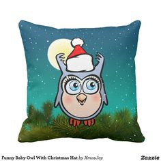 Funny Baby Owl With Christmas Hat Throw Pillow