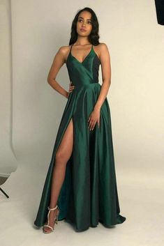 Spaghetti Straps Open Back Prom Dresses with Split – Angr. - Spaghetti Straps Open Back Prom Dresses with Split – Angrila Source by - Open Back Prom Dresses, Pretty Prom Dresses, Grad Dresses, Homecoming Dresses, Nice Dresses, Prom Dresses For Teens, Prom Dresses Long With Sleeves, Black Prom Dresses, Dresses For Formal